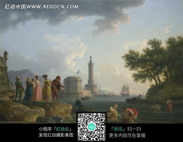 油画—海边的建筑和古代欧洲人图片