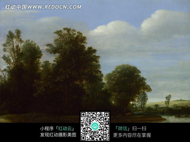 油画—蓝天白云下的河流和草地树木图片