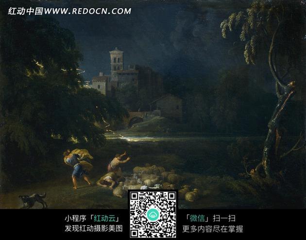 油画—夜晚天空下的古代建筑和古代欧洲人图片图片