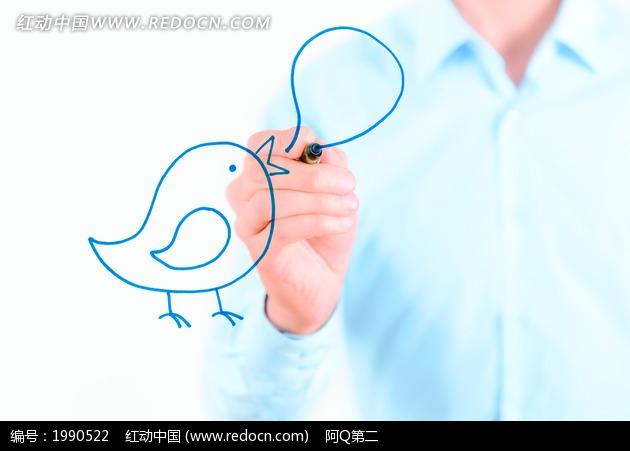 免费素材 图片素材 商务金融 现代商务 手绘小鸟和对话框
