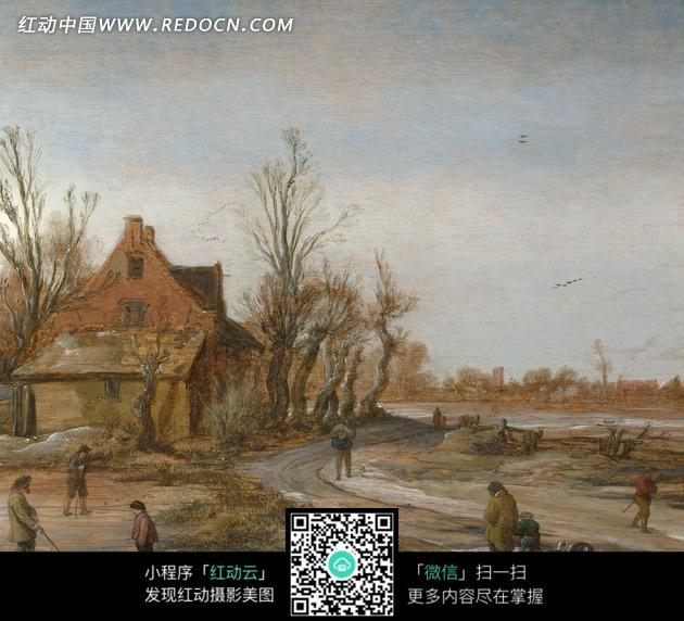 绘画作品 道路上的行人和路边的树木房屋图片免费下载 编号1997345 红动网