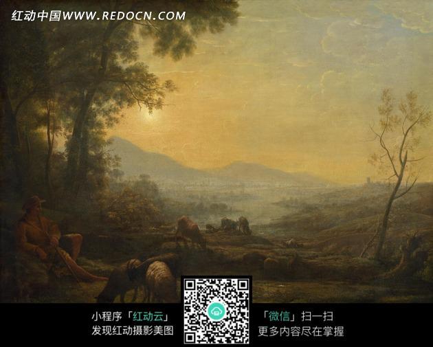 树林 夕阳 吃草 牛群 动物  绘画 油画 绘画作品 西方艺术 书画