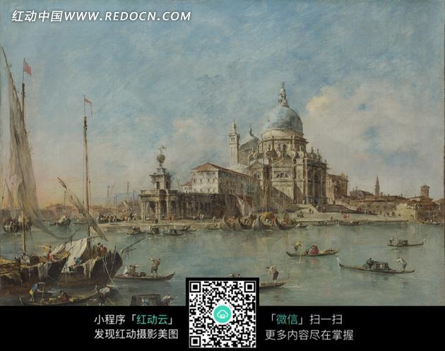 欧式建筑 湖泊 船只 大海 艺术 绘画 油画 书画