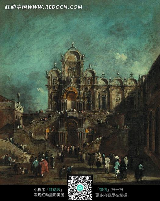 信徒 教堂 建筑 欧式建筑 宗教建筑 艺术 绘画 油画 书画