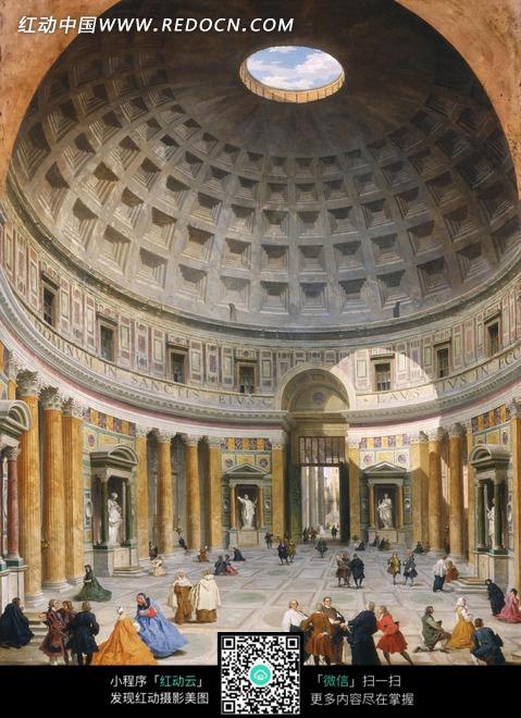 绘画作品-高大圆顶建筑大厅内的人群