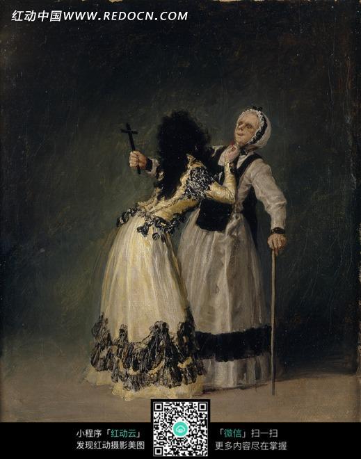 绘画作品-长裙女士为老妇人系领结图片