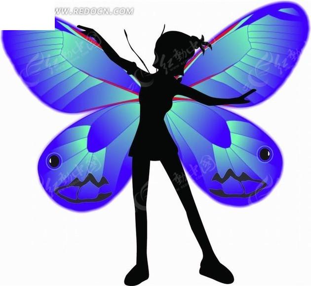 长着蓝色翅膀的美女插画矢量图 卡通形象图片