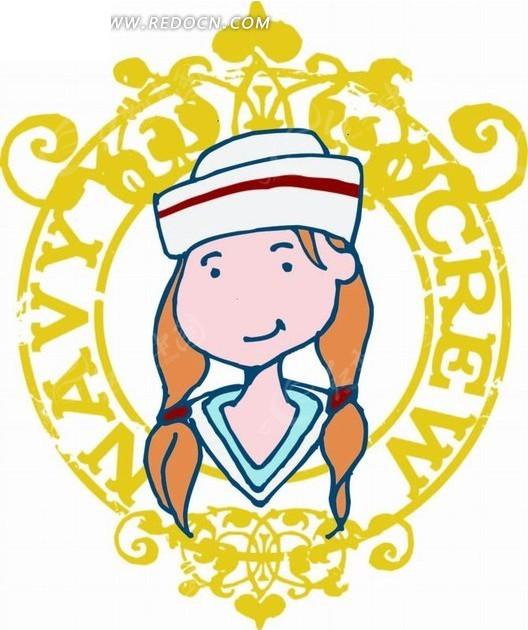 卡通人物插画-花纹和海军小女孩