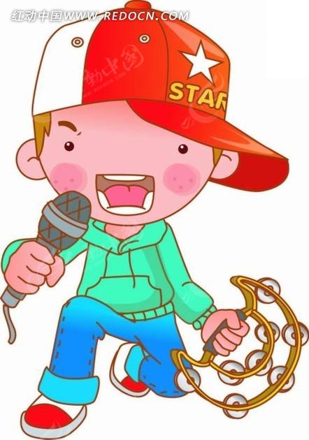 插画 拿麦克风唱歌的小男孩AI免费下载 卡通形象素材