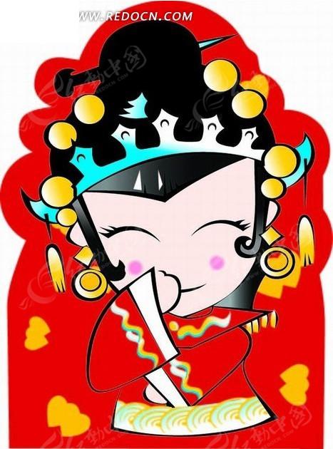 手绘捂嘴偷笑的古代新娘