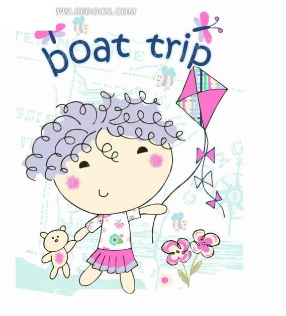 手绘蝴蝶和放风筝的女孩图片