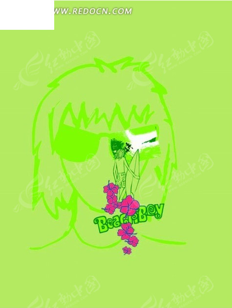 手绘绿色人物头像前拿着冲浪板的人和花朵