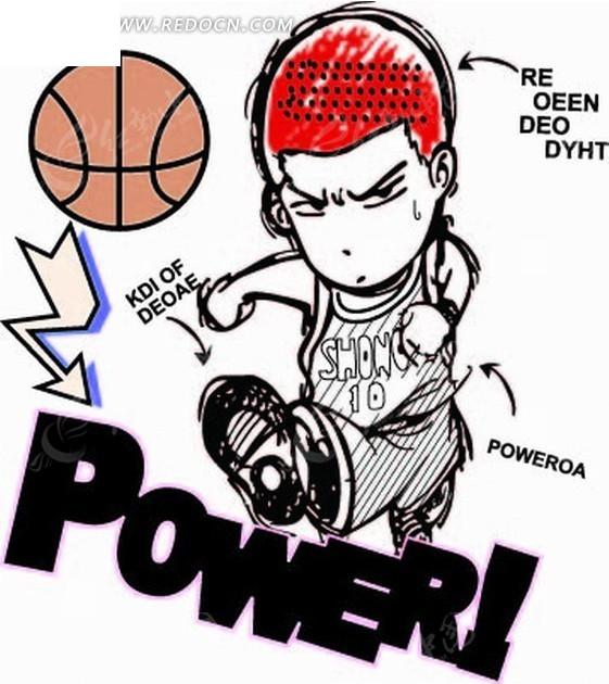 免费素材 矢量素材 矢量人物 卡通形象 手绘篮球和红发樱木花道  请您