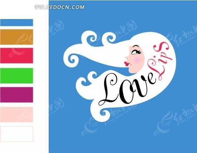 蓝色背景前的手绘白发女孩矢量图_卡通形象