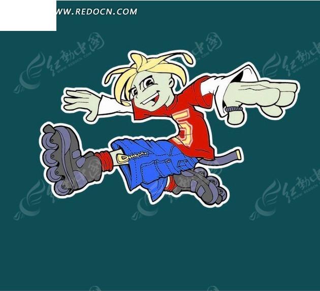 手绘卡通轮滑小子设计图片  (540x521); 手绘穿着溜冰鞋的青春男孩