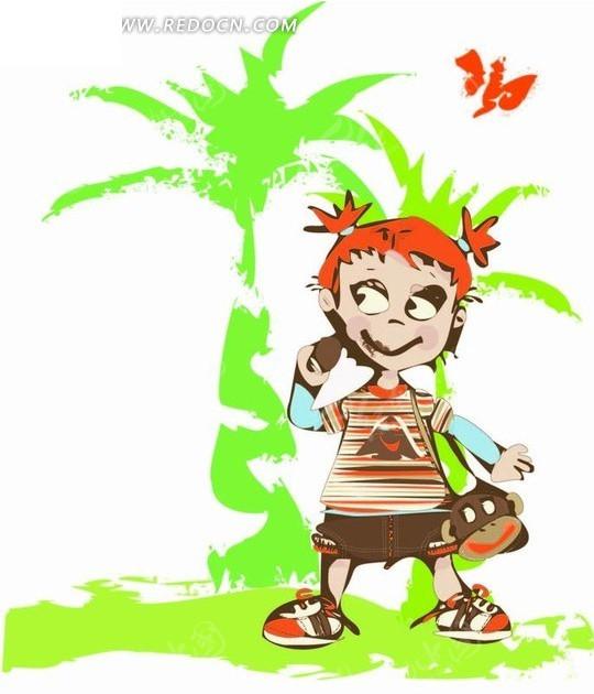 绿色椰子树前的女孩插画矢量图ai免费下载_卡通形象