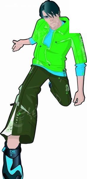卡通人物插画-跨腿的街舞男孩