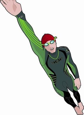 手绘建筑和伸出右手的紫发女孩 伸出右手的跳水运动员插画 手绘伸出右
