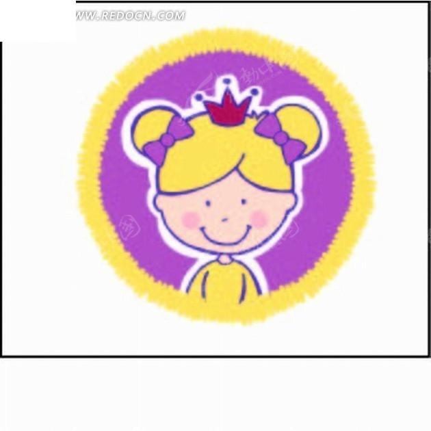 卡通人物插画-黄色边圆形的小女孩头像