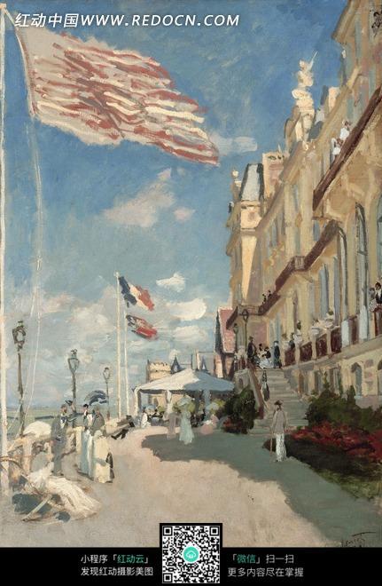 油画—天空下的欧式建筑和飘扬的旗帜图片