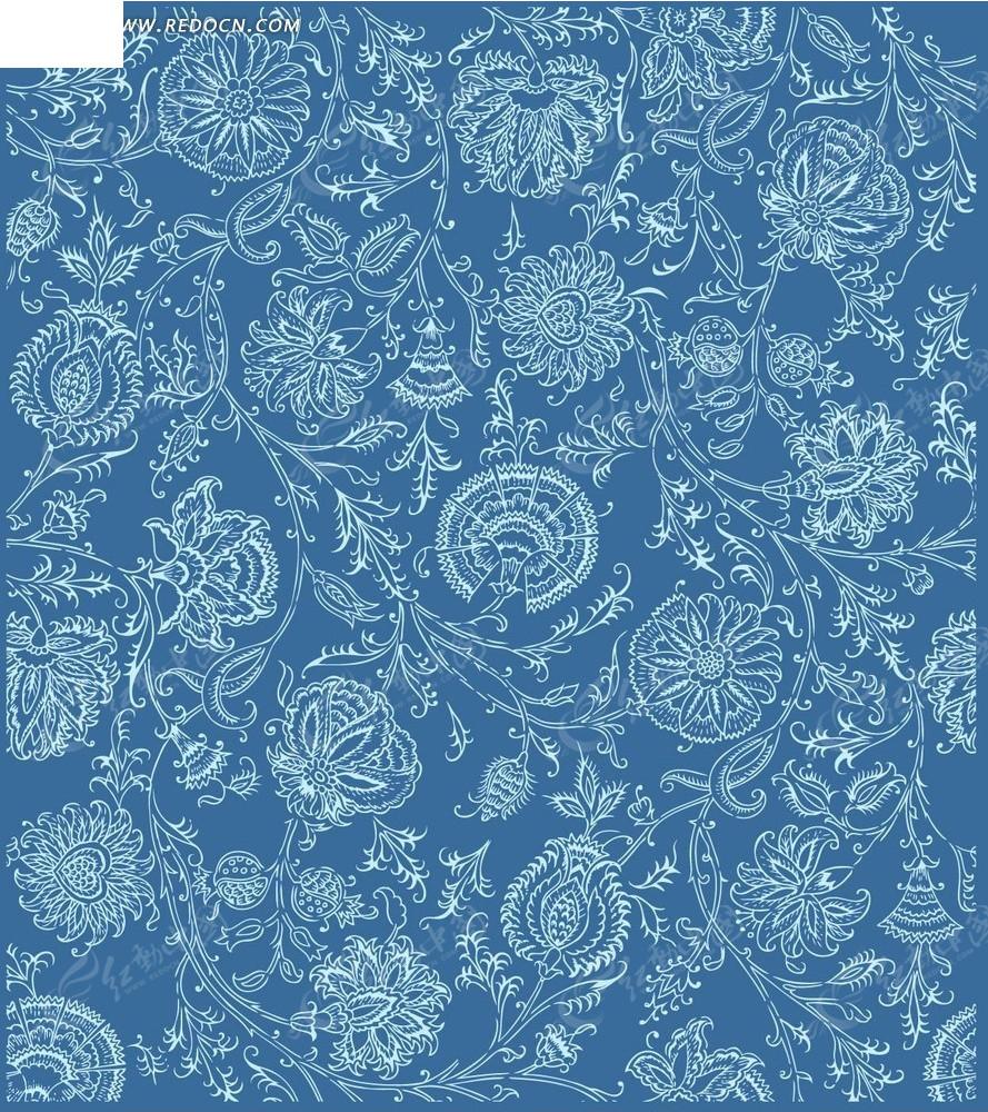 蓝底 蓝色背景 淡蓝色手绘花枝 花朵 底纹 花纹 花纹素材 花边 花边图片