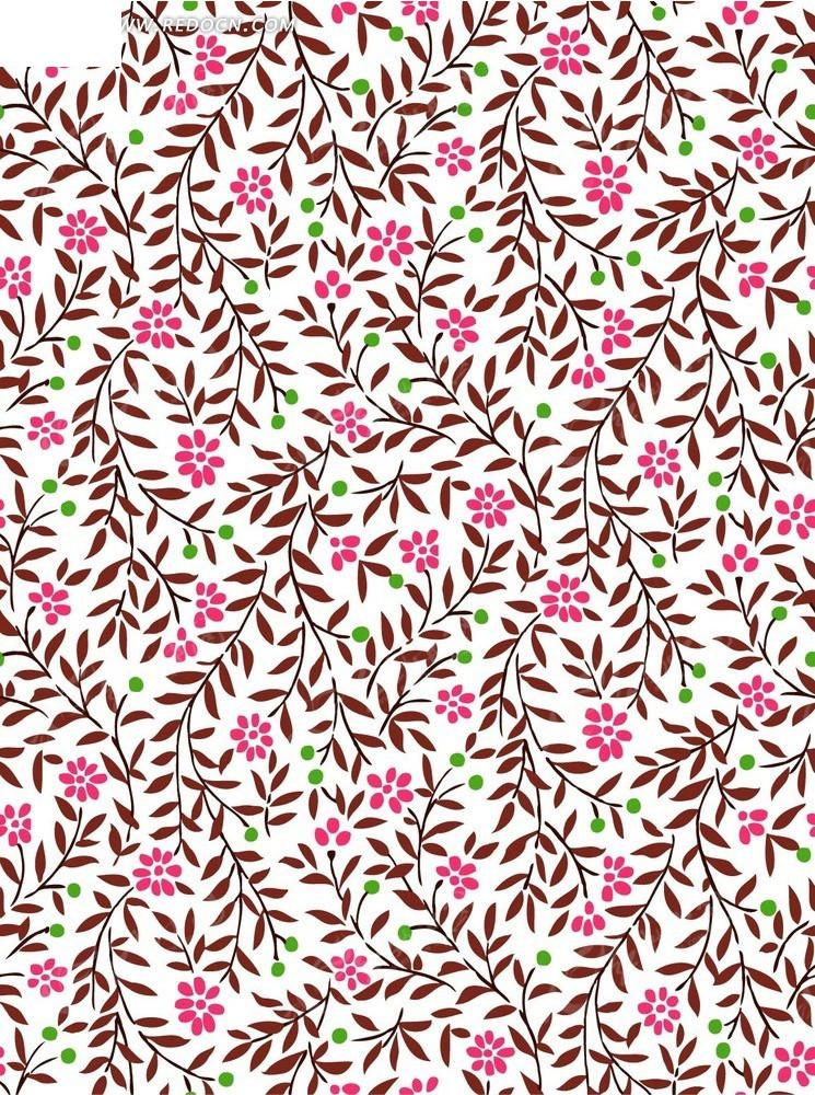 白底的手绘褐色枝条和粉色花朵背景素材AI免费下载 编号2000843 红动网图片