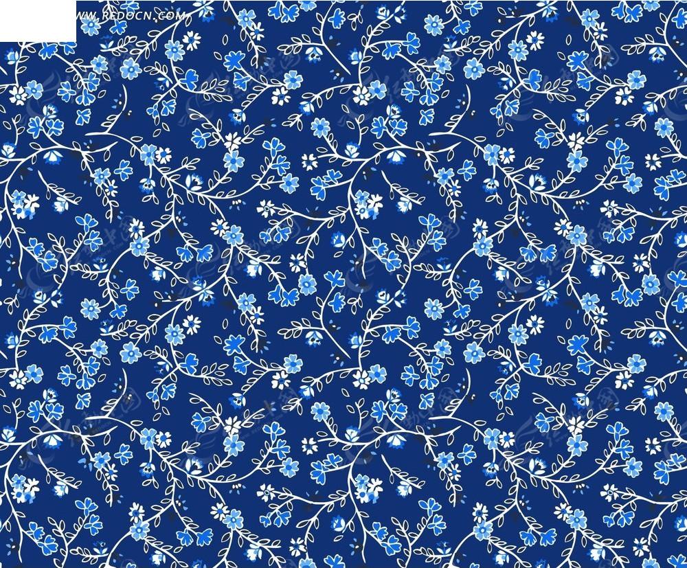 蓝色底的手绘白色枝条和蓝色花朵背景素材