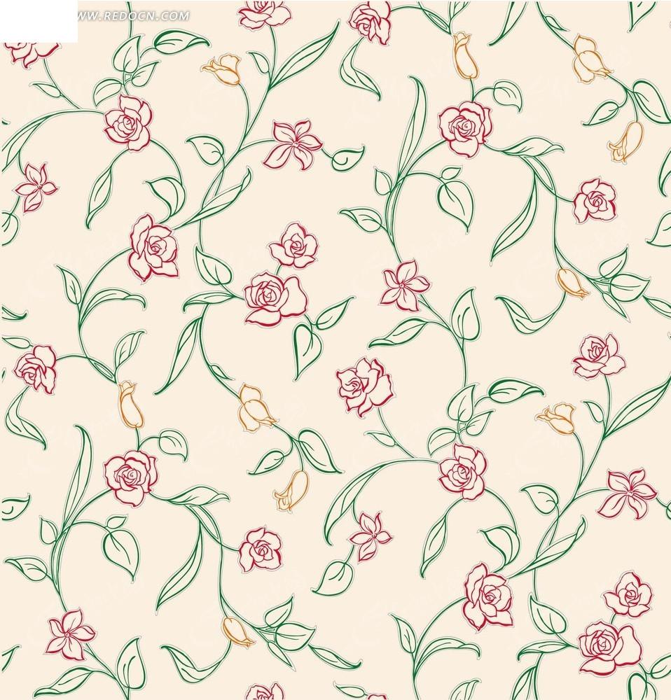 粉色底 手绘绿色枝条 绿叶 花朵 植物 背景素材 花纹 花纹素材 花边