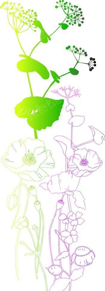 手绘紫色绿色渐变开花植物