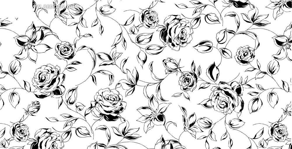 免费素材 矢量素材 花纹边框 花纹花边 细长枝条和线描牡丹花底纹