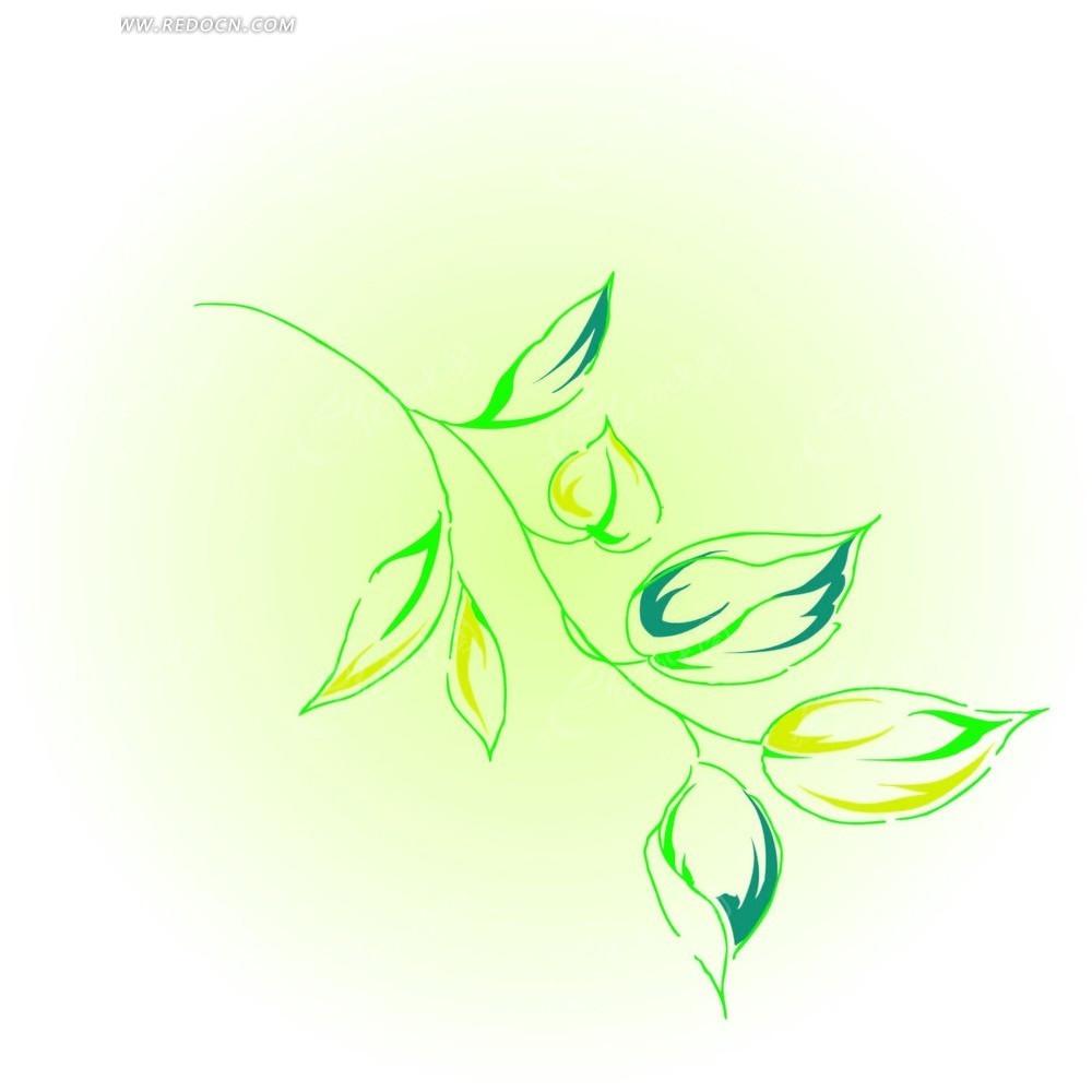 色枝条上的绿色叶子矢量图AI免费下载 花纹花边素材
