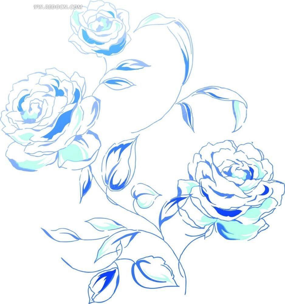 手绘花朵—蓝色枝条和盛开的牡丹花