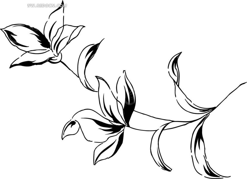 免费素材 矢量素材 花纹边框 花纹花边 手绘花朵—黑色线条的开花枝条