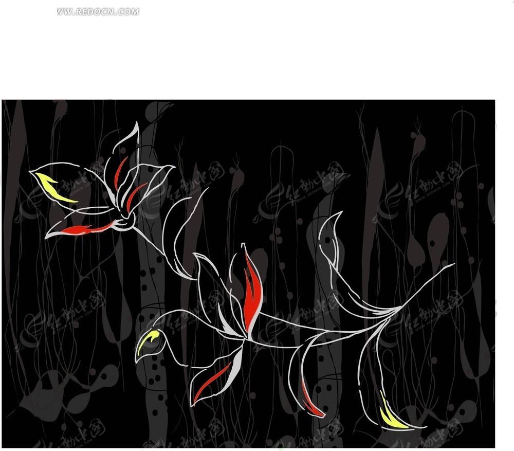 素材下载 矢量素材 花纹边框 花纹花边 > 手绘花朵—黑色背景上的开花