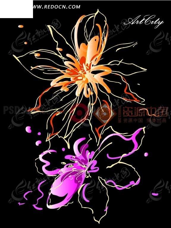 花卉插画—黑色背景上的橙色和粉色花朵