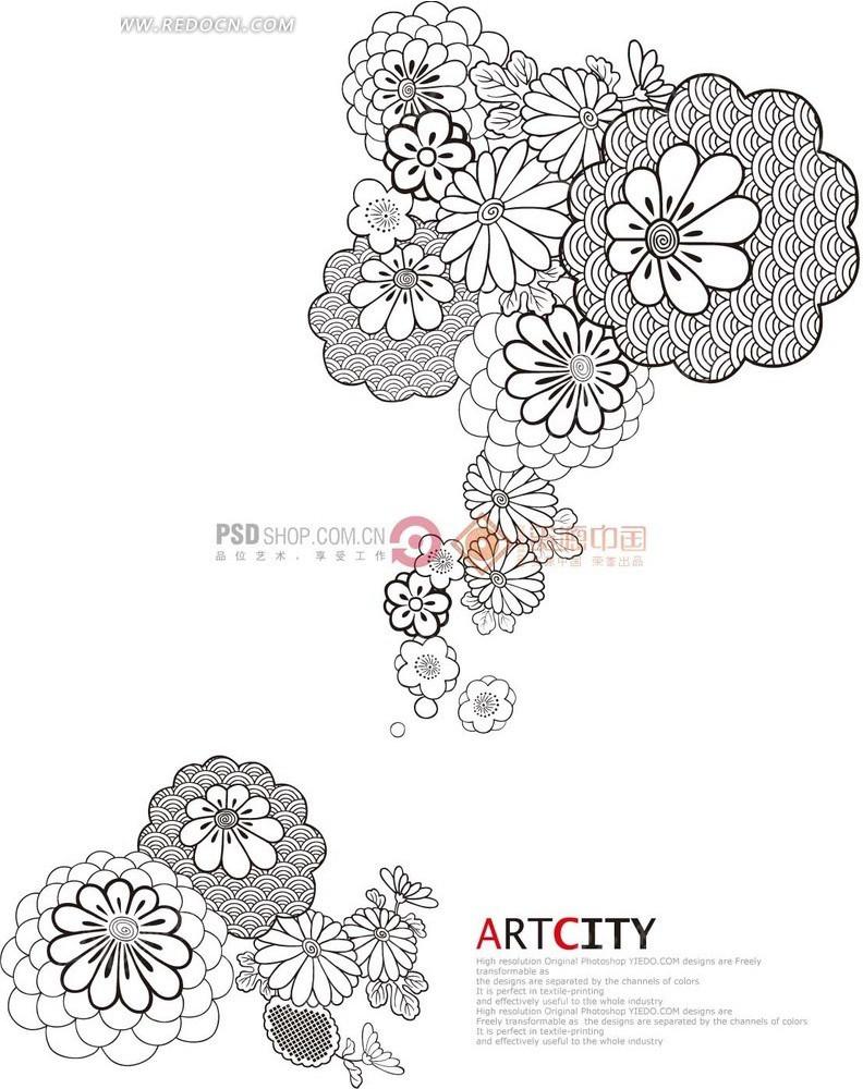 花卉插画—盛开的花朵和菊花