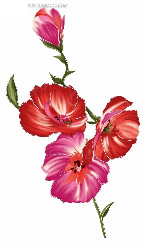 手绘唯美红色抽象花卉图案