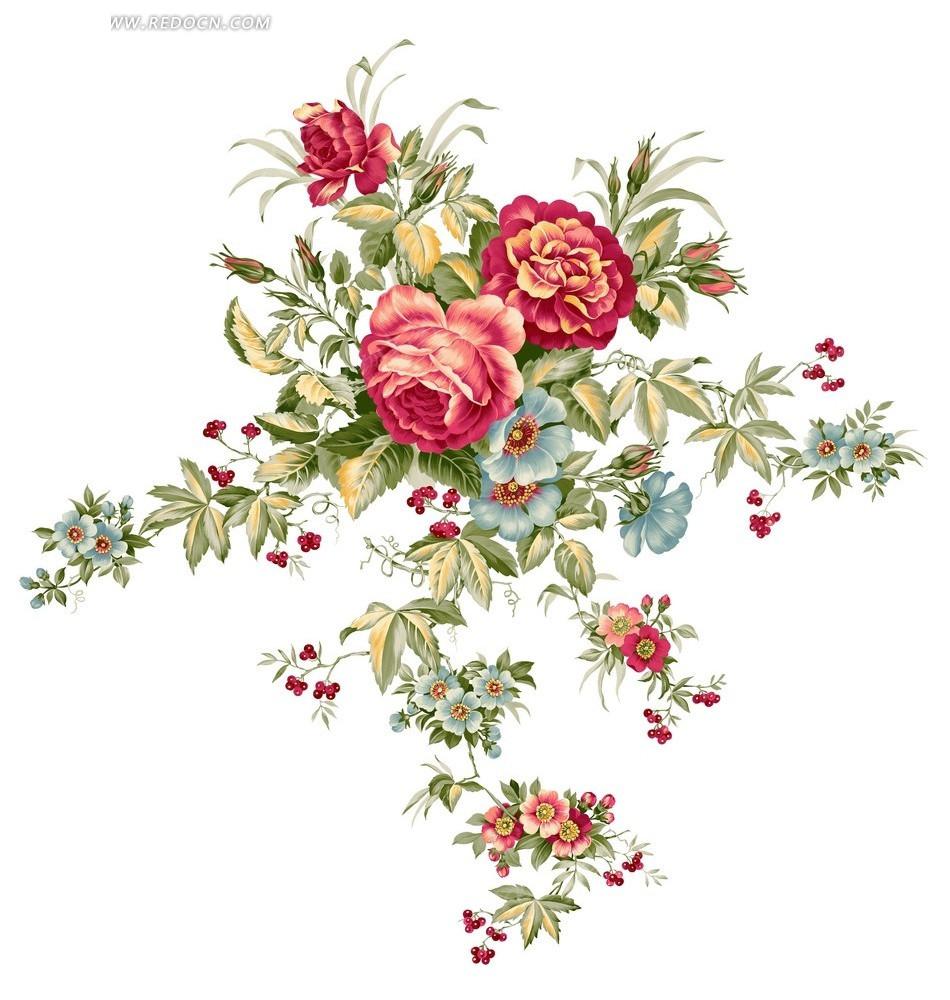 手绘玫瑰花束与红果绿叶分层素材