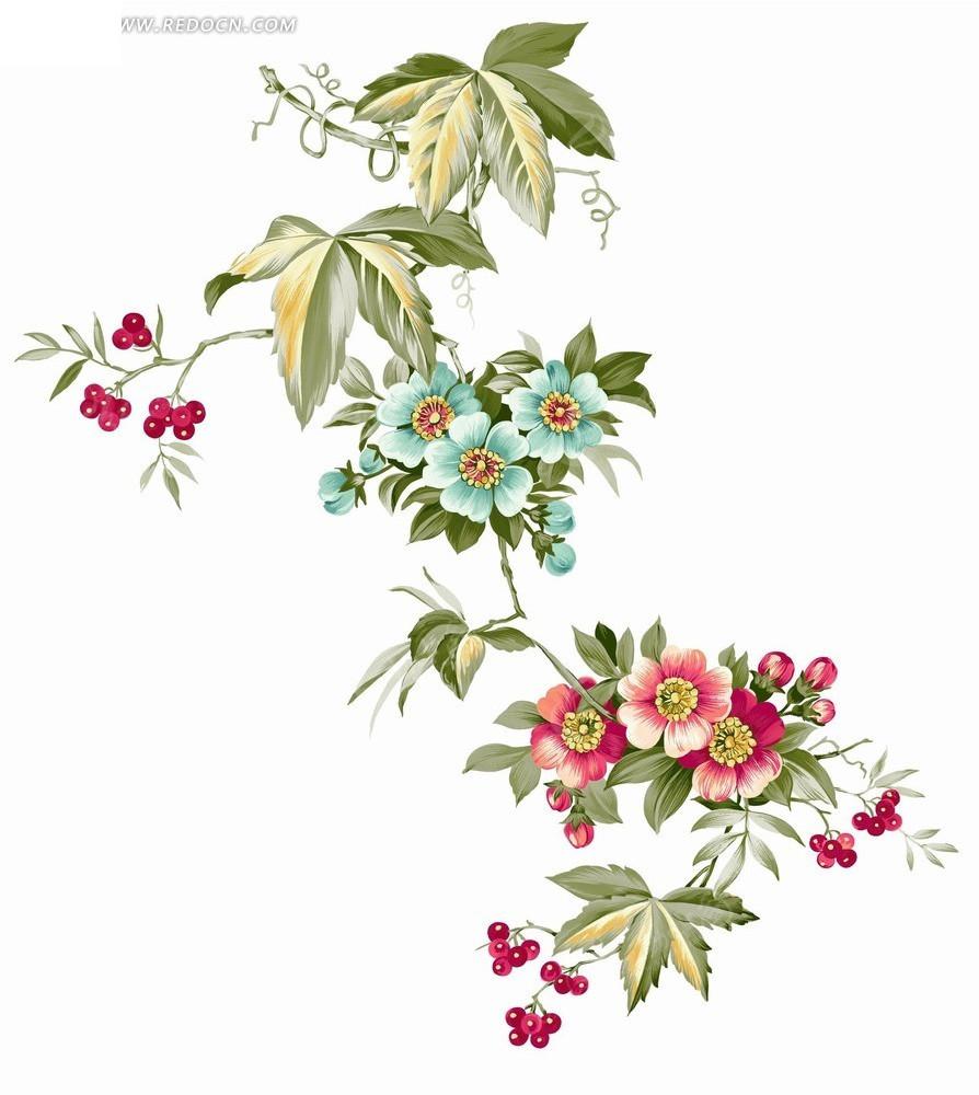 手绘花朵与红果绿叶