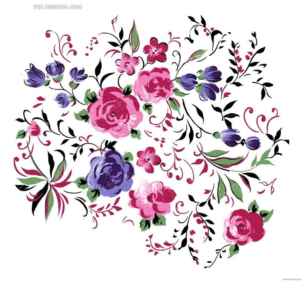 彩色花朵花瓣创意插画设计稿件