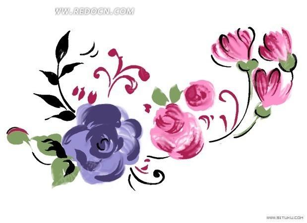 手绘花朵花瓣创意插画设计稿件展示