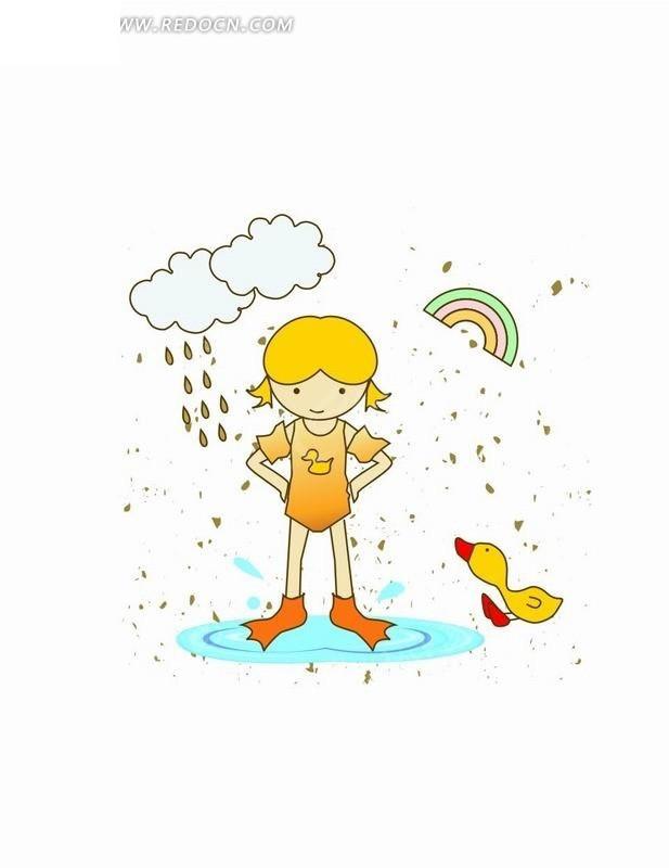 卡通人物插画-站在水里的小女孩和鸭子