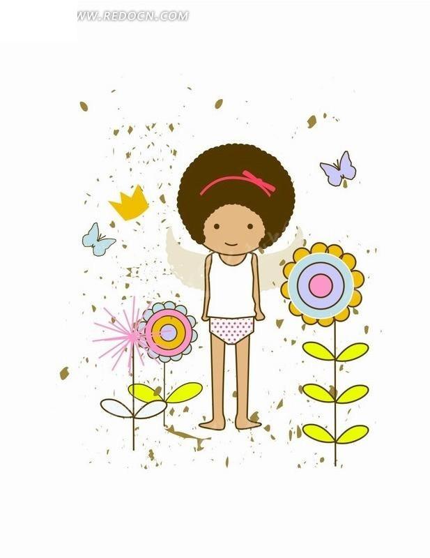 向日葵中间的女孩插画cdr免费下载_卡通形象素材