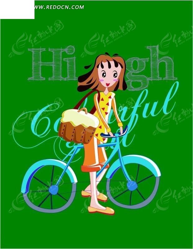 卡通人物骑单车