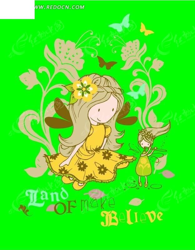 卡通人物插画-小女孩和吹笛的花仙子