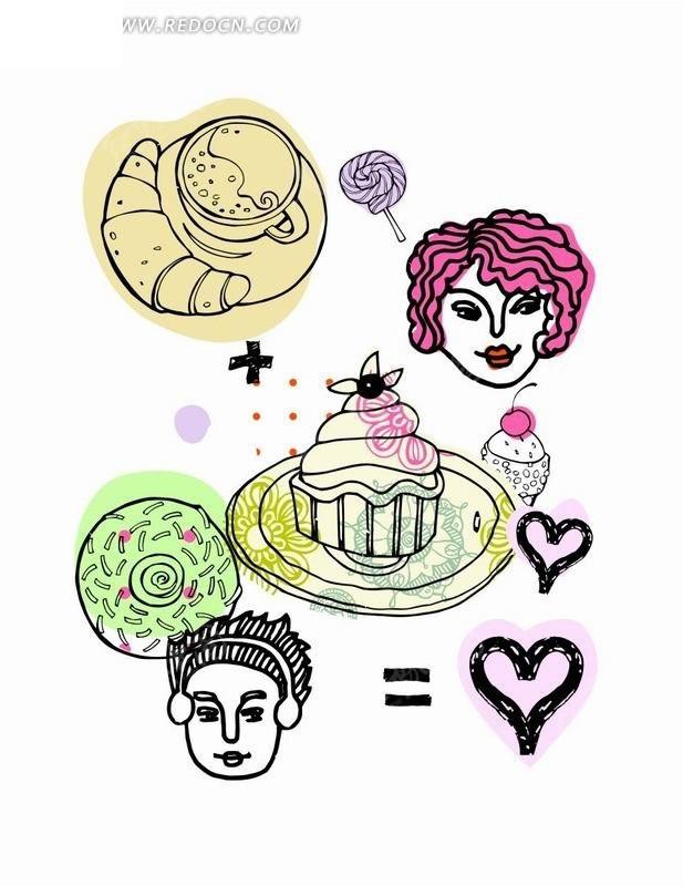 手绘咖啡杯和棒棒糖以及蛋糕和男孩女孩头像矢量图