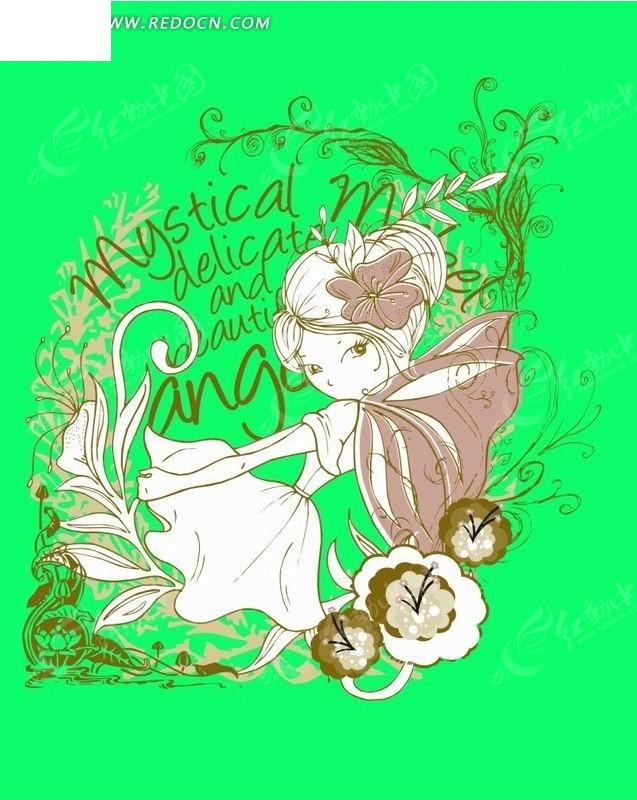 卡通人物插画-花纹和长翅膀的小女孩