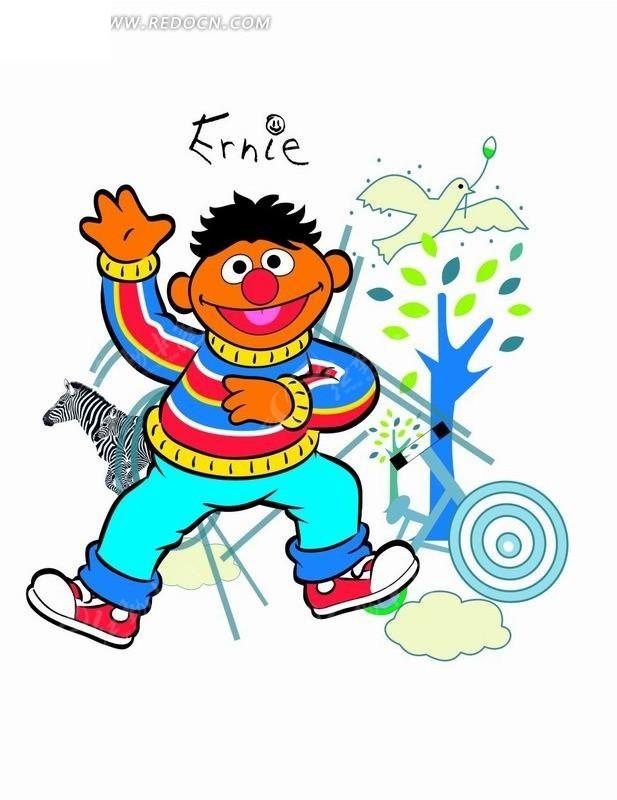 卡通人物插画-小男孩和斑马和小鸟