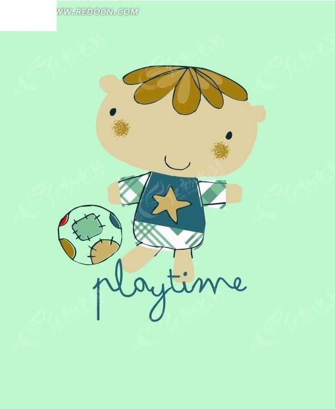 踢球 小男孩 蓝色背景 手绘 插画 卡通 卡通人物 漫画 漫画人物 卡通