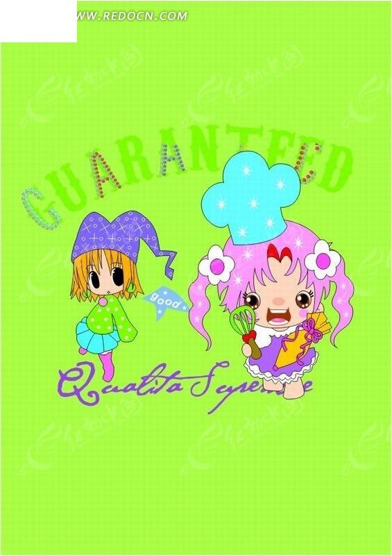 卡通人物插画-开心的两个小女孩